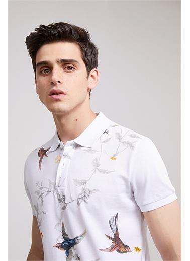 D'S Damat Ds Damat Slim Fit Beyaz Baskılı T-Shirt Beyaz